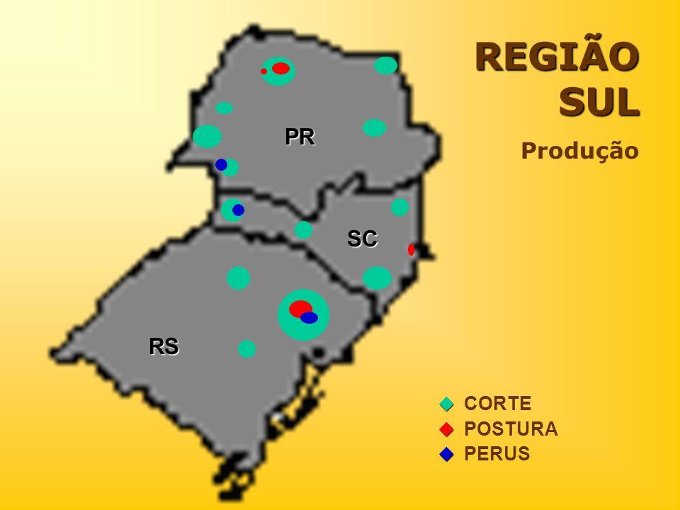 REGIÃO SUL Produção PR SC RS  CORTE  POSTURA  PERUS