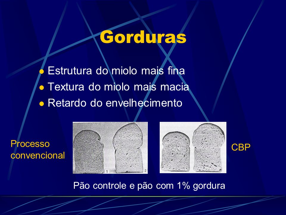 Gorduras Estrutura do miolo mais fina Textura do miolo mais macia