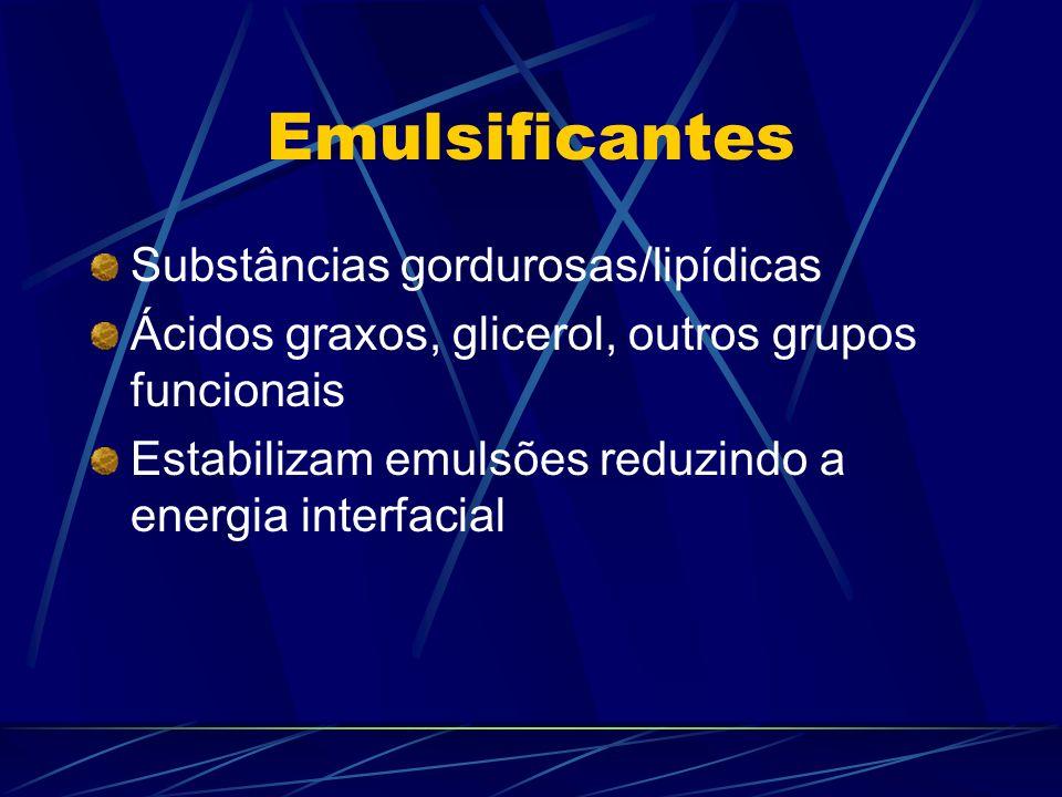 Emulsificantes Substâncias gordurosas/lipídicas