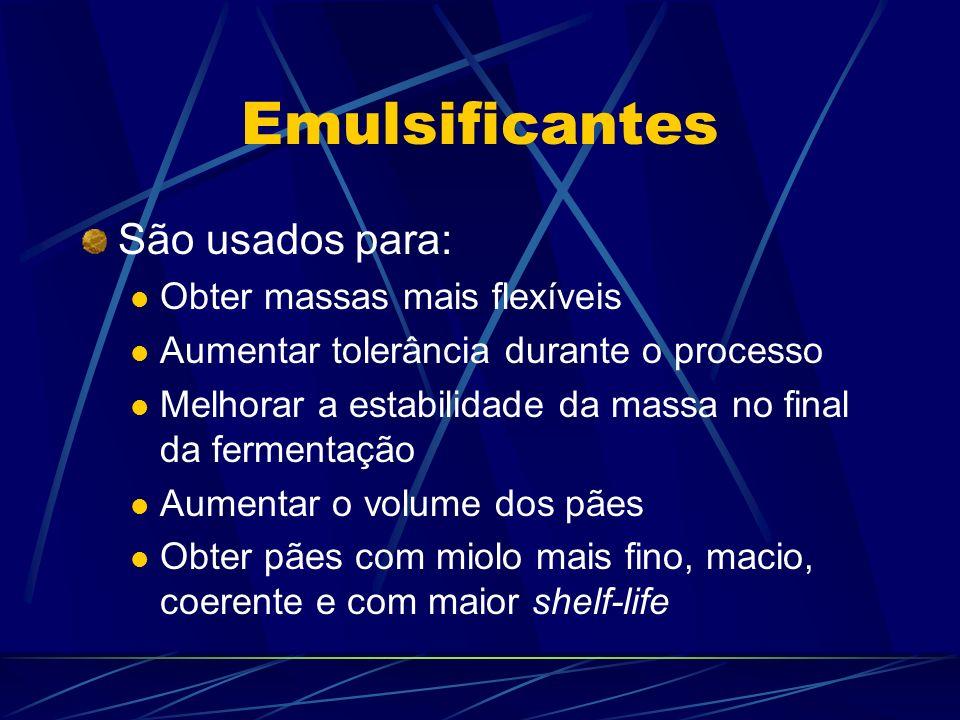 Emulsificantes São usados para: Obter massas mais flexíveis