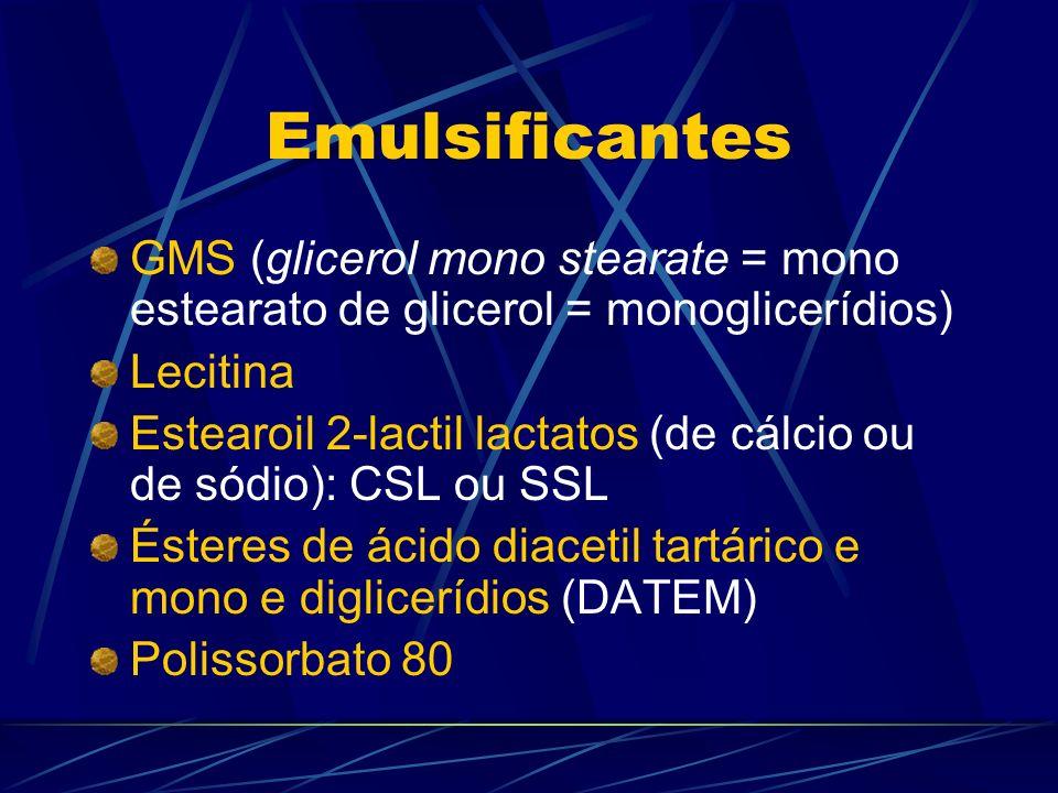 Emulsificantes GMS (glicerol mono stearate = mono estearato de glicerol = monoglicerídios) Lecitina.