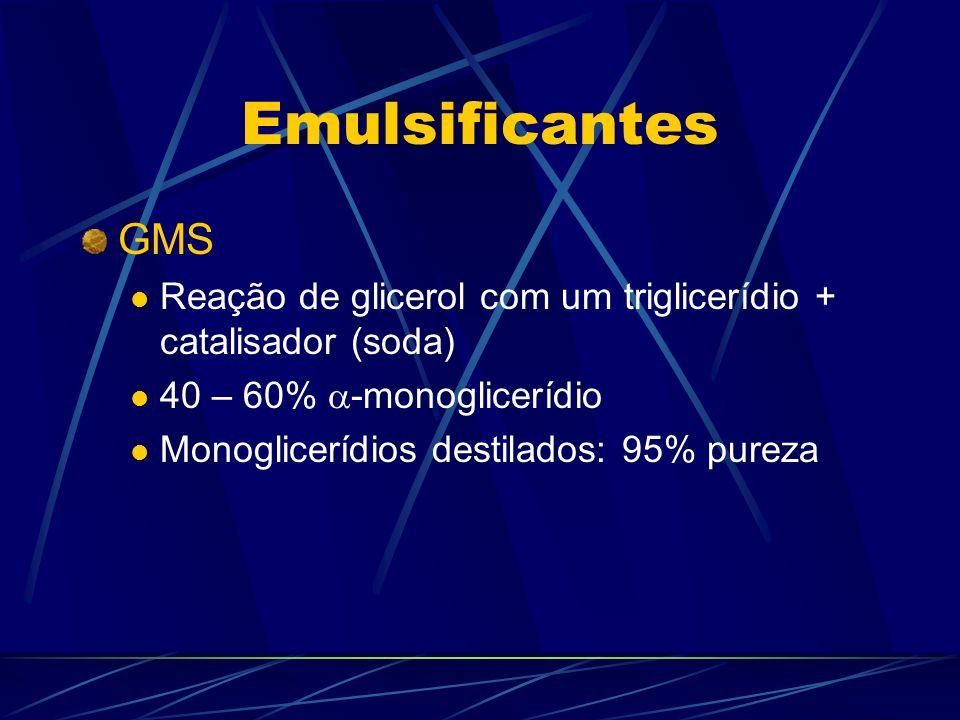 Emulsificantes GMS. Reação de glicerol com um triglicerídio + catalisador (soda) 40 – 60% -monoglicerídio.