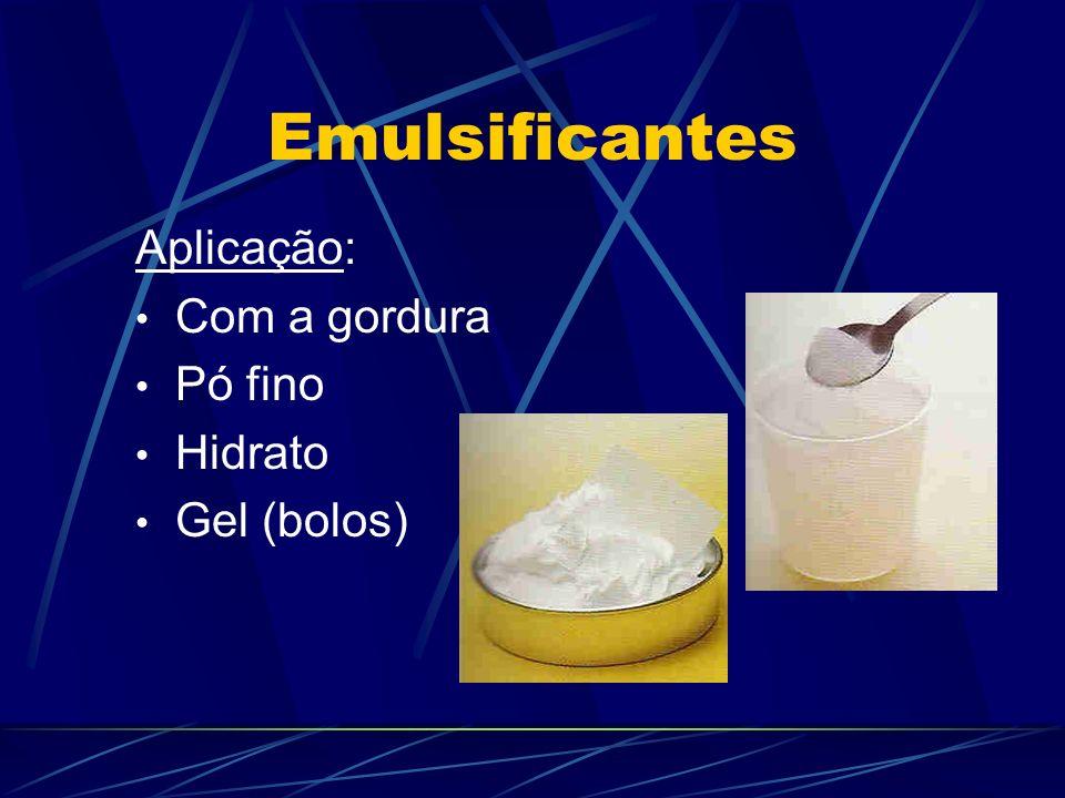 Emulsificantes Aplicação: Com a gordura Pó fino Hidrato Gel (bolos)