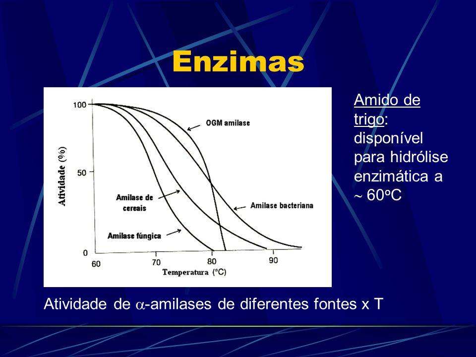 Enzimas Amido de trigo: disponível para hidrólise enzimática a  60oC