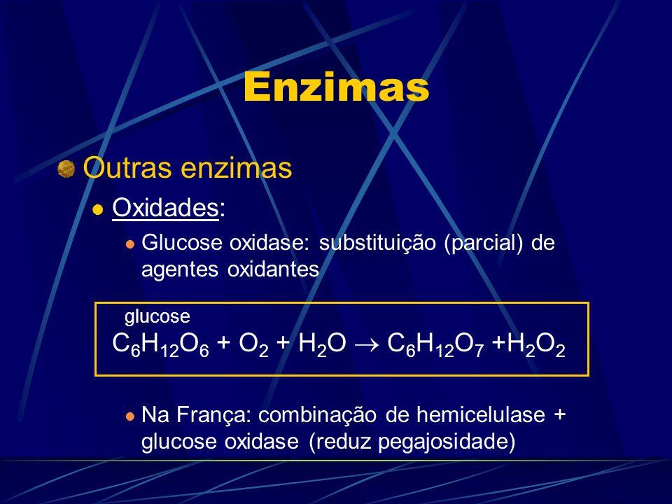 Enzimas Outras enzimas Oxidades: C6H12O6 + O2 + H2O  C6H12O7 +H2O2