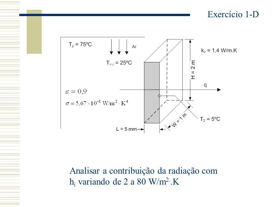 Exercício 1-D Analisar a contribuição da radiação com hi variando de 2 a 80 W/m2..K
