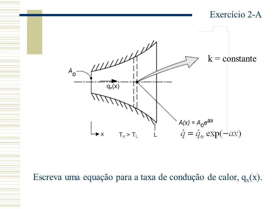 Exercício 2-A k = constante Escreva uma equação para a taxa de condução de calor, qx(x).