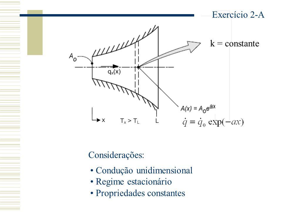 Exercício 2-A k = constante. Considerações: Condução unidimensional.