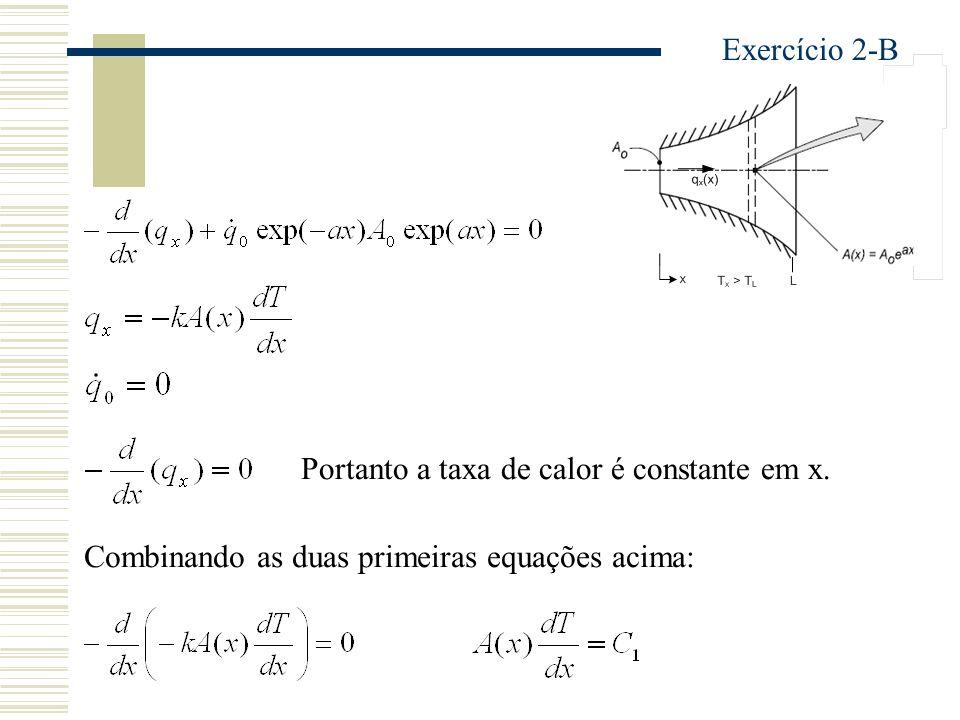 Exercício 2-B Portanto a taxa de calor é constante em x.