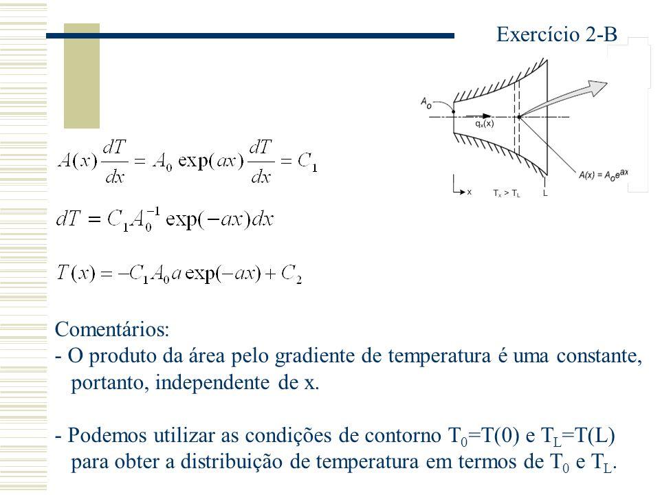 Exercício 2-B Comentários: - O produto da área pelo gradiente de temperatura é uma constante, portanto, independente de x.