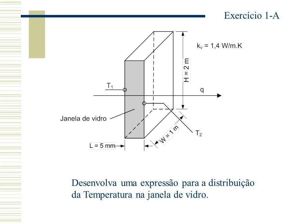 Exercício 1-A Desenvolva uma expressão para a distribuição da Temperatura na janela de vidro.
