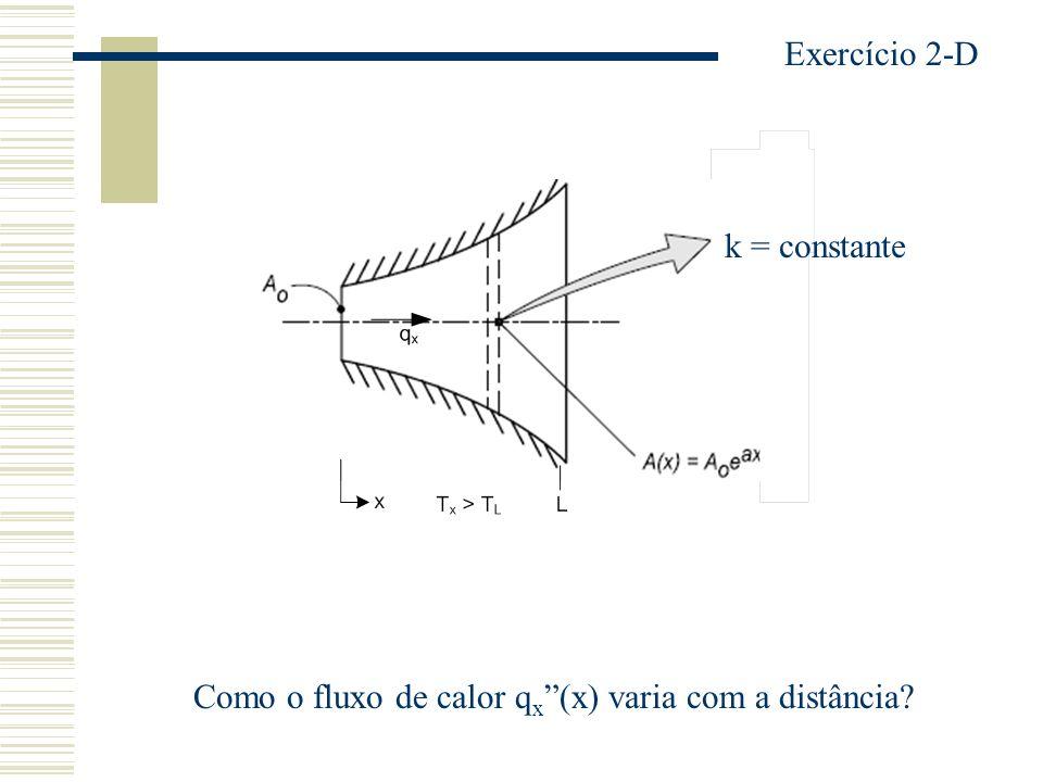 Exercício 2-D k = constante Como o fluxo de calor qx (x) varia com a distância