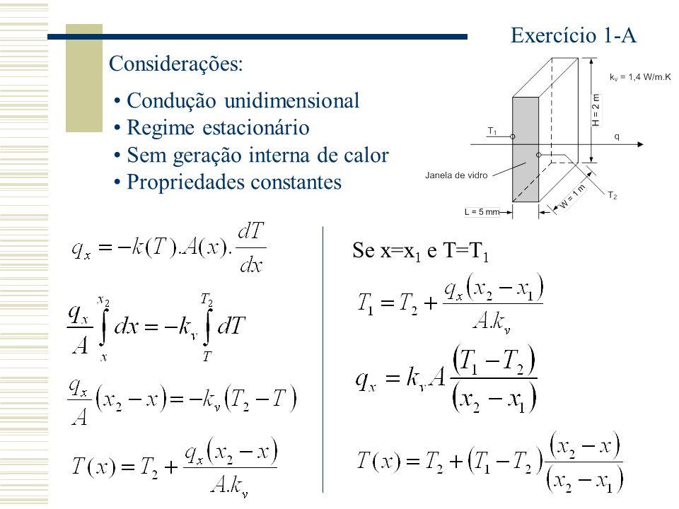 Exercício 1-A Considerações: Condução unidimensional. Regime estacionário. Sem geração interna de calor.