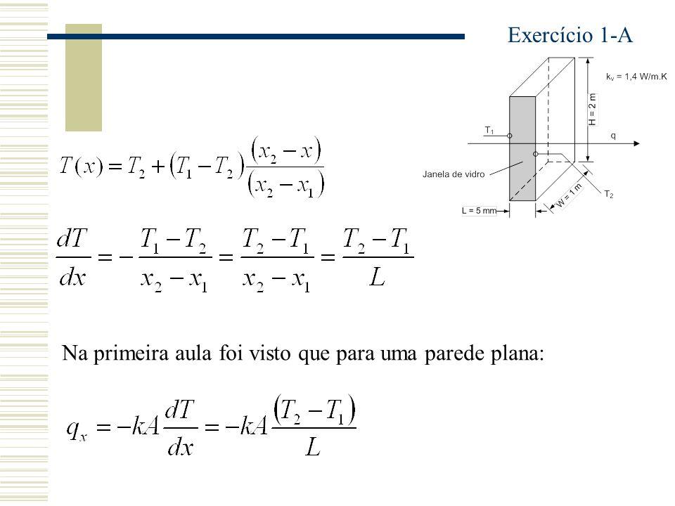 Exercício 1-A Na primeira aula foi visto que para uma parede plana: