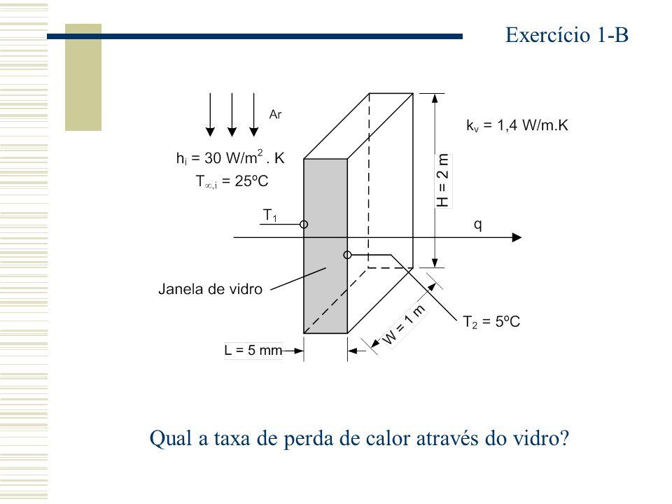 Exercício 1-B Qual a taxa de perda de calor através do vidro