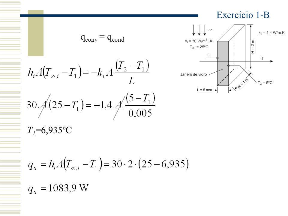 Exercício 1-B qconv = qcond T1=6,935ºC