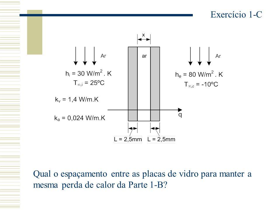 Exercício 1-C Qual o espaçamento entre as placas de vidro para manter a.