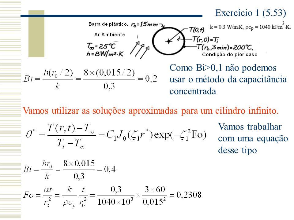 Exercício 1 (5.53) Como Bi>0,1 não podemos usar o método da capacitância concentrada.