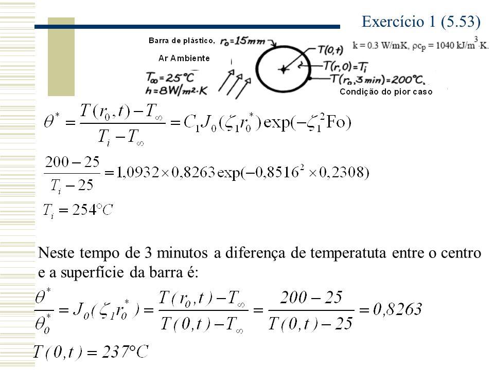 Exercício 1 (5.53) Neste tempo de 3 minutos a diferença de temperatuta entre o centro e a superfície da barra é: