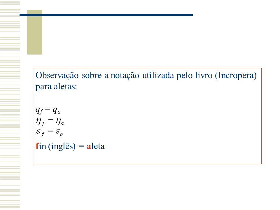 Observação sobre a notação utilizada pelo livro (Incropera) para aletas: