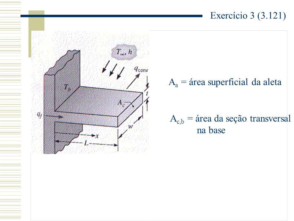 Exercício 3 (3.121) Aa = área superficial da aleta Ac,b = área da seção transversal na base