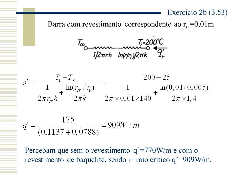 Exercício 2b (3.53) Barra com revestimento correspondente ao rcr=0,01m. Percebam que sem o revestimento q'=770W/m e com o.