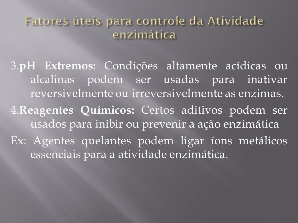 Fatores úteis para controle da Atividade enzimática