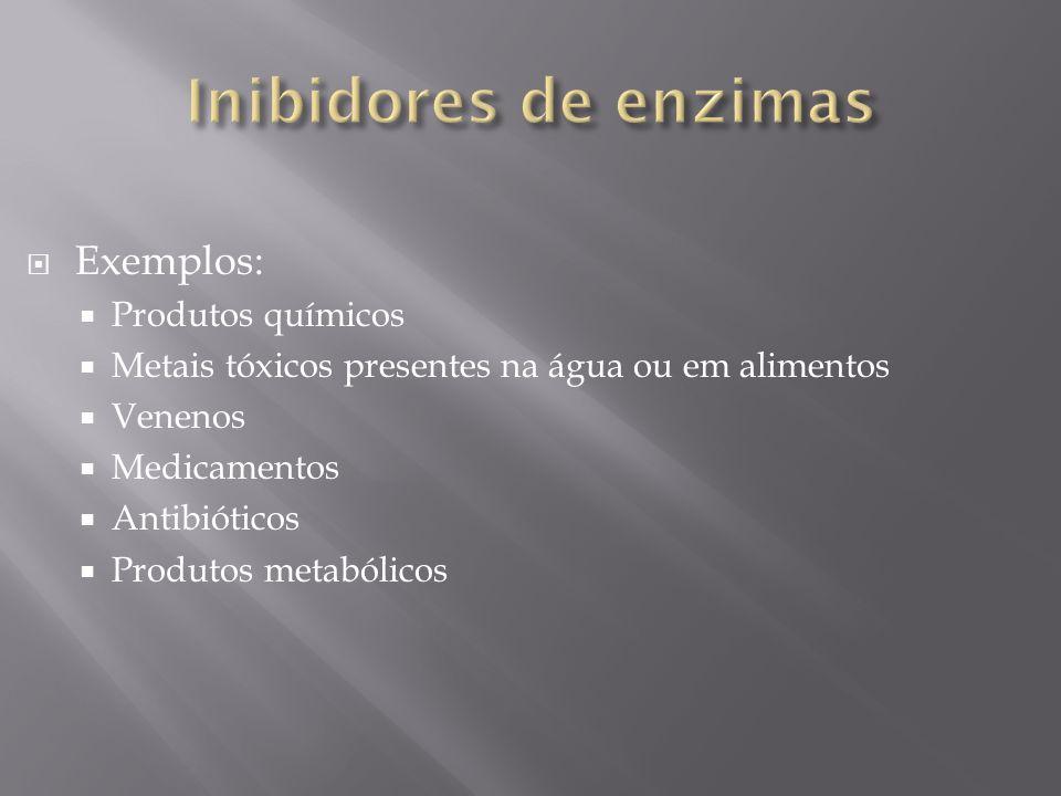 Inibidores de enzimas Exemplos: Produtos químicos