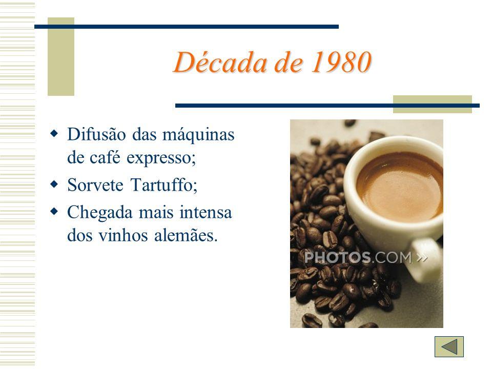 Década de 1980 Difusão das máquinas de café expresso;