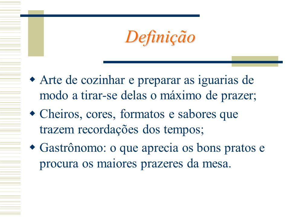 DefiniçãoArte de cozinhar e preparar as iguarias de modo a tirar-se delas o máximo de prazer;