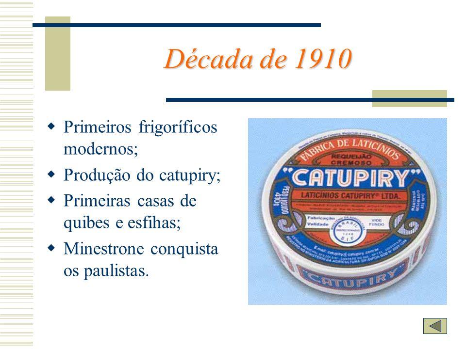 Década de 1910 Primeiros frigoríficos modernos; Produção do catupiry;