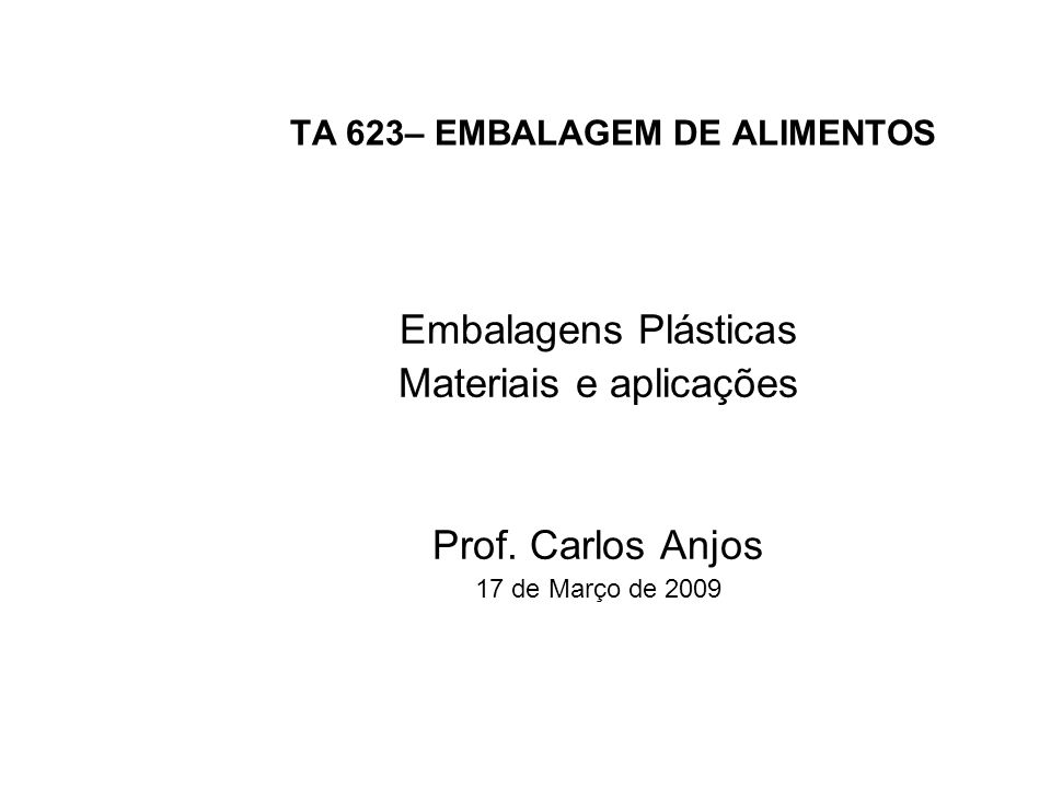 TA 623– EMBALAGEM DE ALIMENTOS