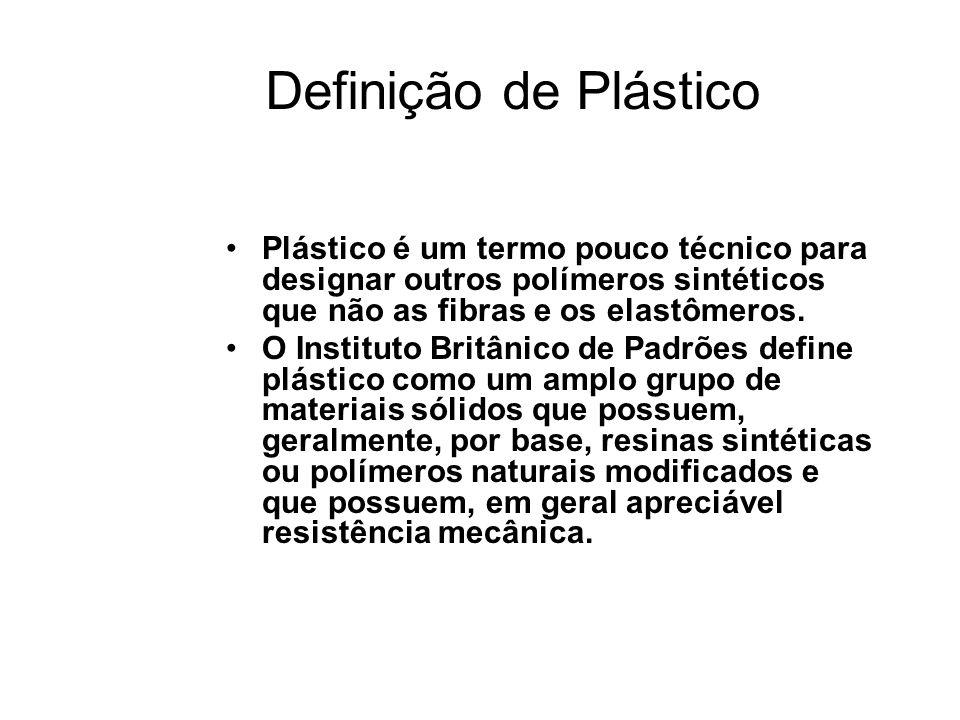 Definição de Plástico Plástico é um termo pouco técnico para designar outros polímeros sintéticos que não as fibras e os elastômeros.