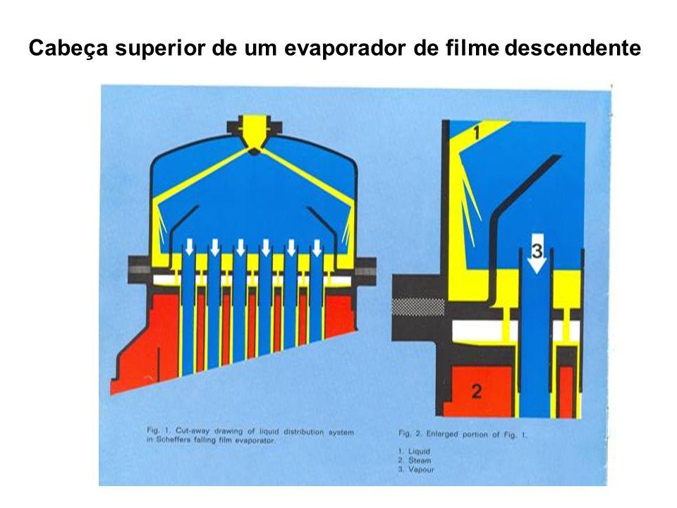 Cabeça superior de um evaporador de filme descendente