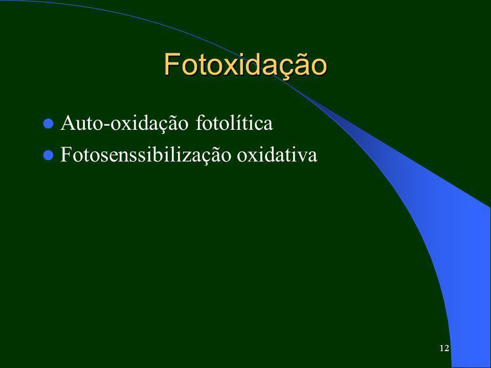 Fotoxidação Auto-oxidação fotolítica Fotosenssibilização oxidativa