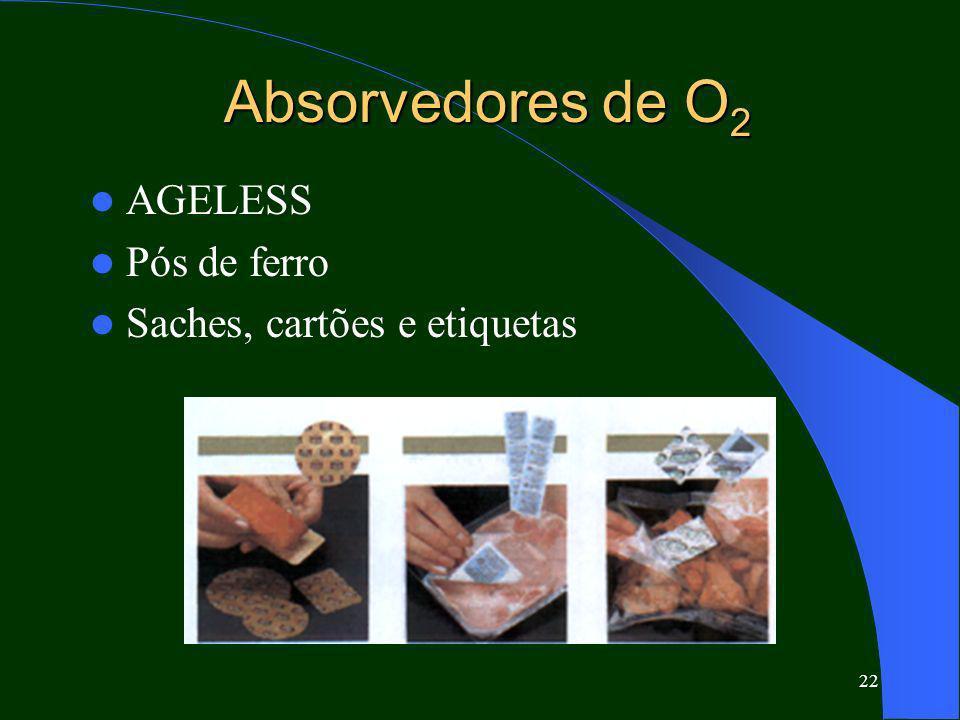Absorvedores de O2 AGELESS Pós de ferro Saches, cartões e etiquetas