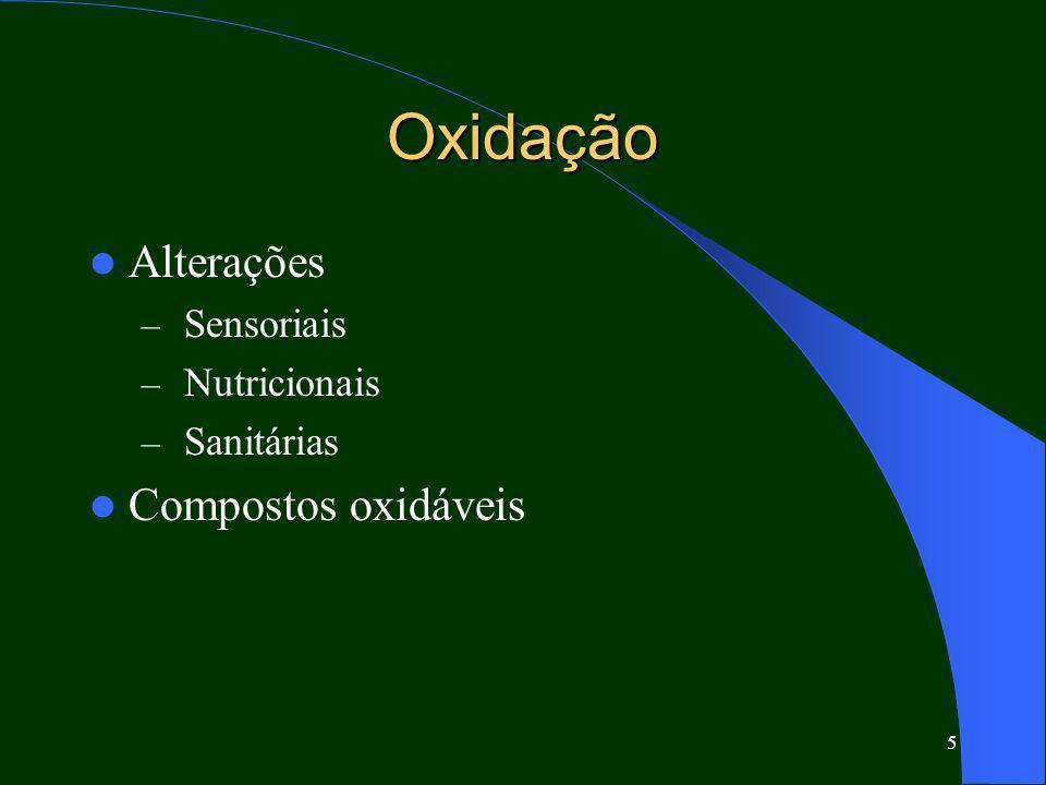 Oxidação Alterações Compostos oxidáveis Sensoriais Nutricionais