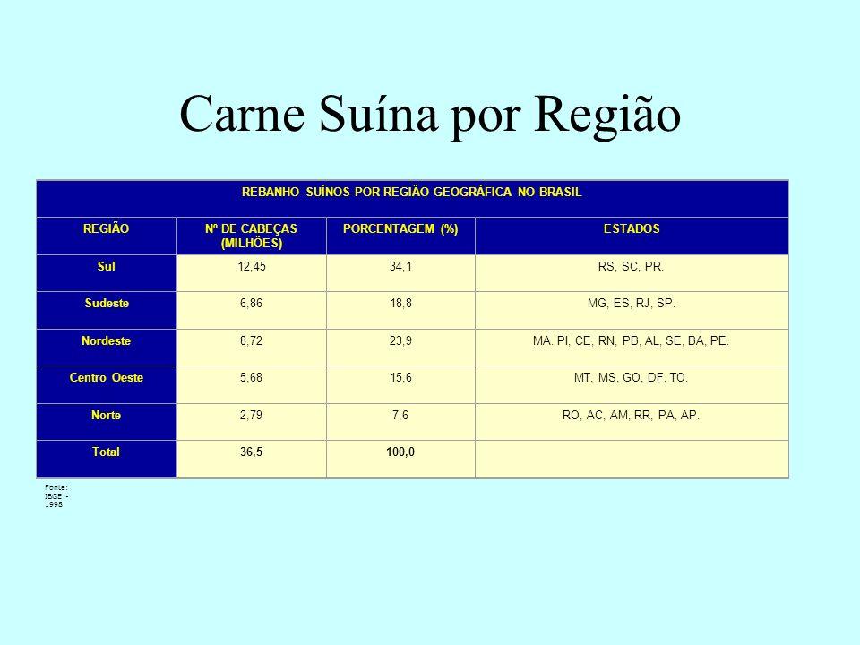 REBANHO SUÍNOS POR REGIÃO GEOGRÁFICA NO BRASIL Nº DE CABEÇAS (MILHÕES)