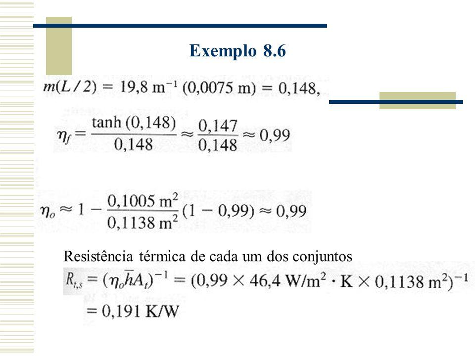 Exemplo 8.6 Resistência térmica de cada um dos conjuntos