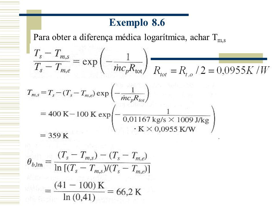 Exemplo 8.6 Para obter a diferença médica logarítmica, achar Tm,s