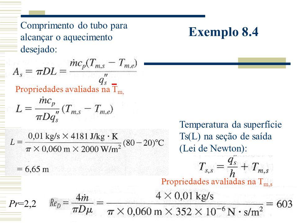 Exemplo 8.4 Comprimento do tubo para alcançar o aquecimento desejado: