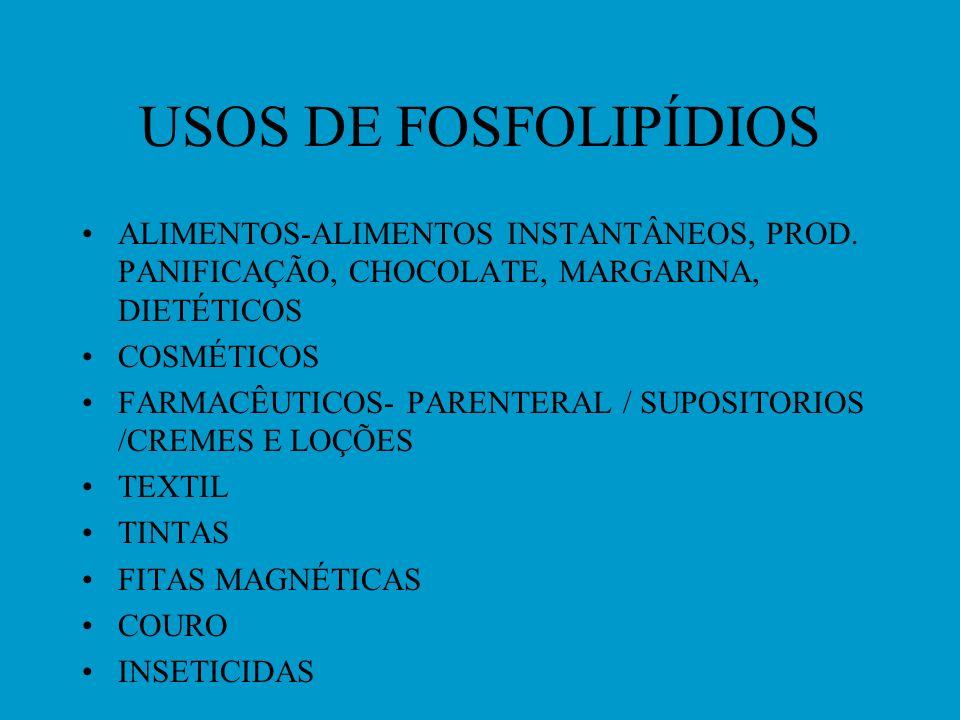 USOS DE FOSFOLIPÍDIOS ALIMENTOS-ALIMENTOS INSTANTÂNEOS, PROD. PANIFICAÇÃO, CHOCOLATE, MARGARINA, DIETÉTICOS.