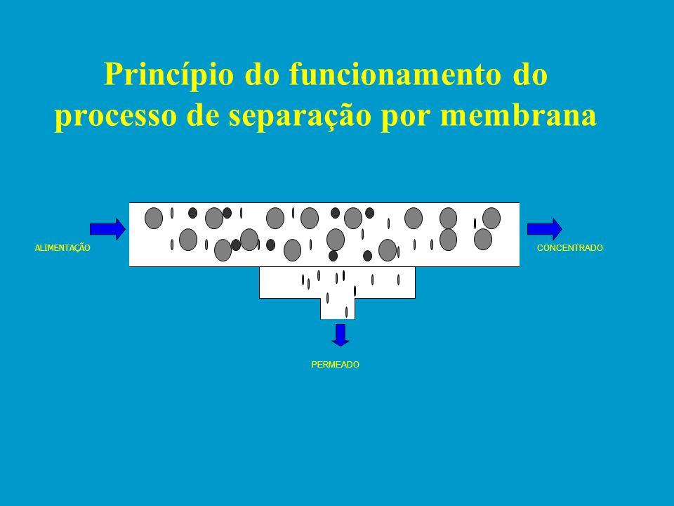 Princípio do funcionamento do processo de separação por membrana