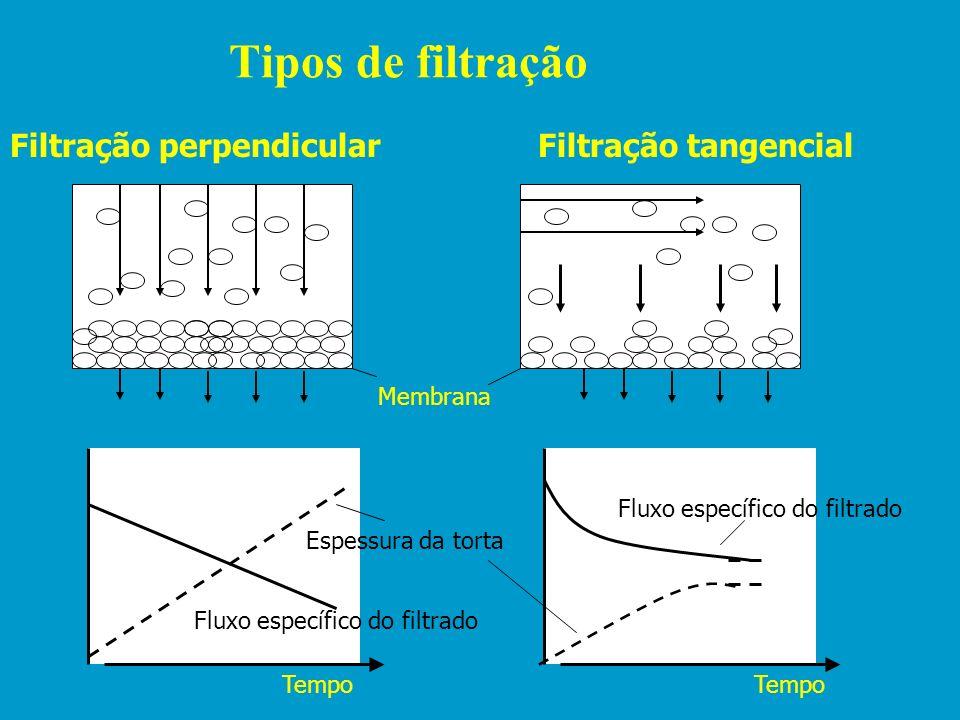 Tipos de filtração Filtração perpendicular Filtração tangencial