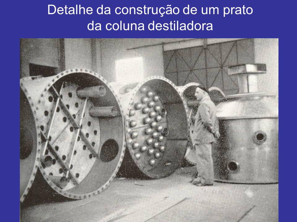 Detalhe da construção de um prato da coluna destiladora