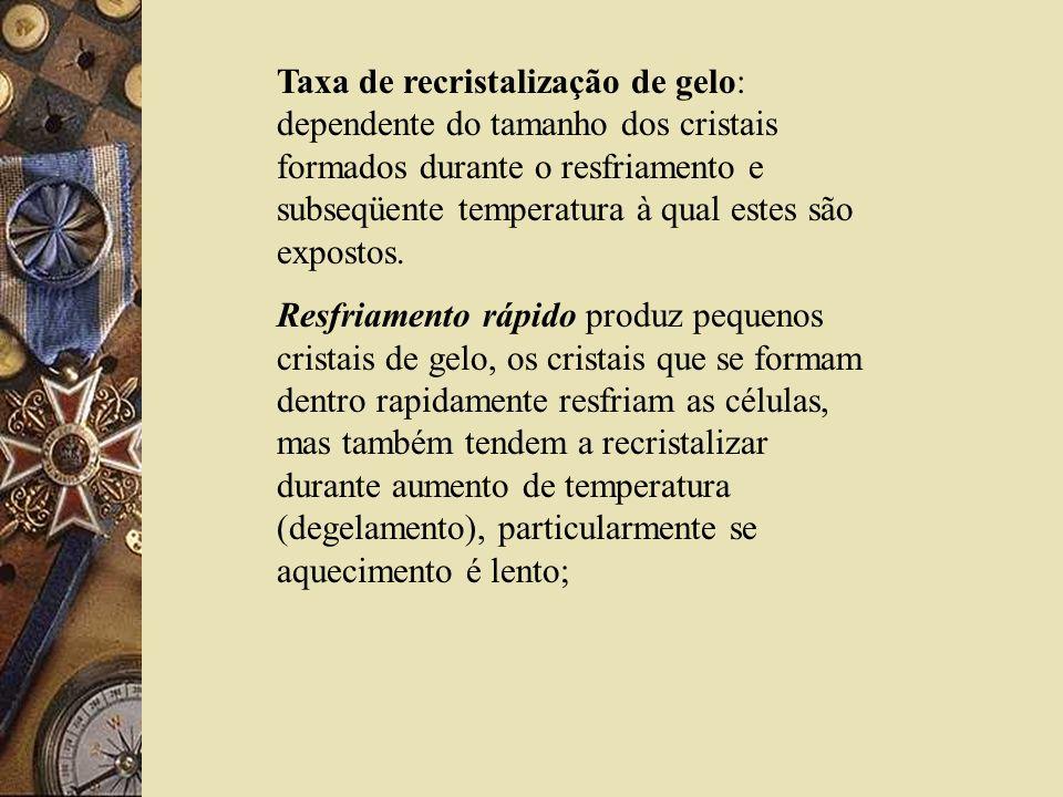 Taxa de recristalização de gelo: dependente do tamanho dos cristais formados durante o resfriamento e subseqüente temperatura à qual estes são expostos.