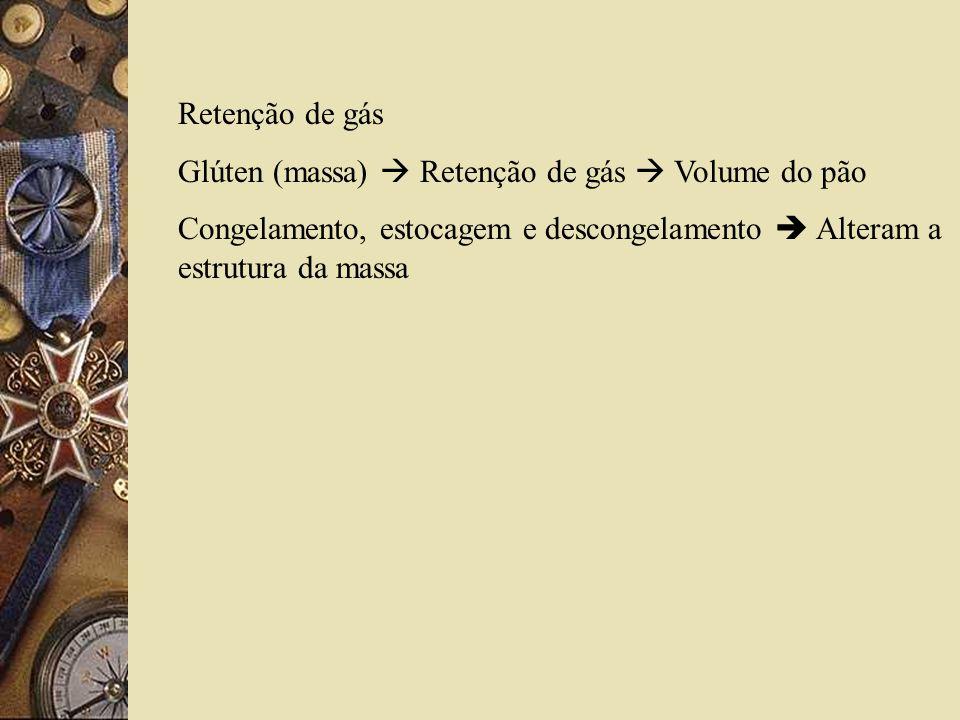 Retenção de gás Glúten (massa)  Retenção de gás  Volume do pão.