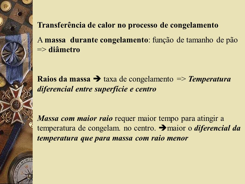 Transferência de calor no processo de congelamento