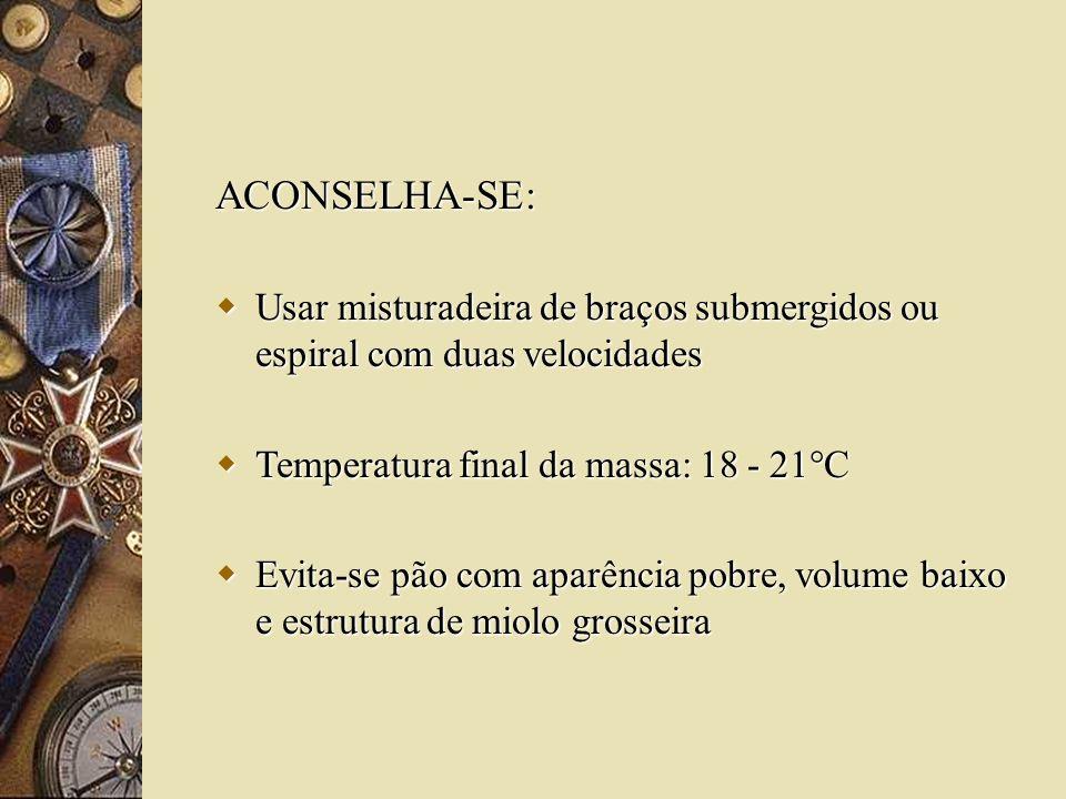 ACONSELHA-SE: Usar misturadeira de braços submergidos ou espiral com duas velocidades. Temperatura final da massa: 18 - 21°C.