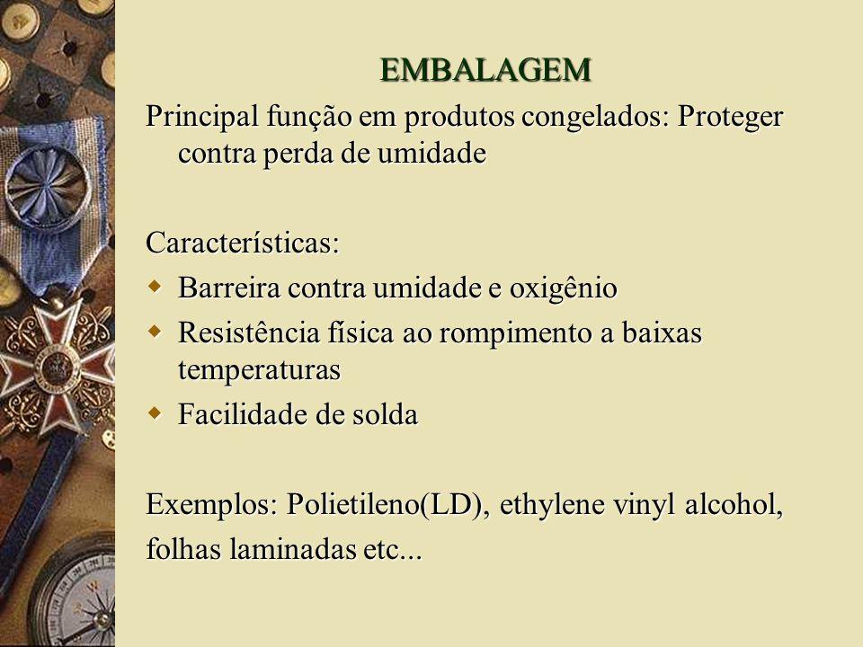 EMBALAGEM Principal função em produtos congelados: Proteger contra perda de umidade. Características: